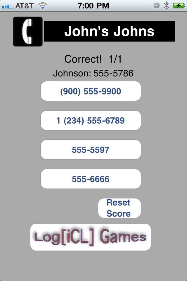 Screenshot Contacts Quiz: Address Book Memory Test